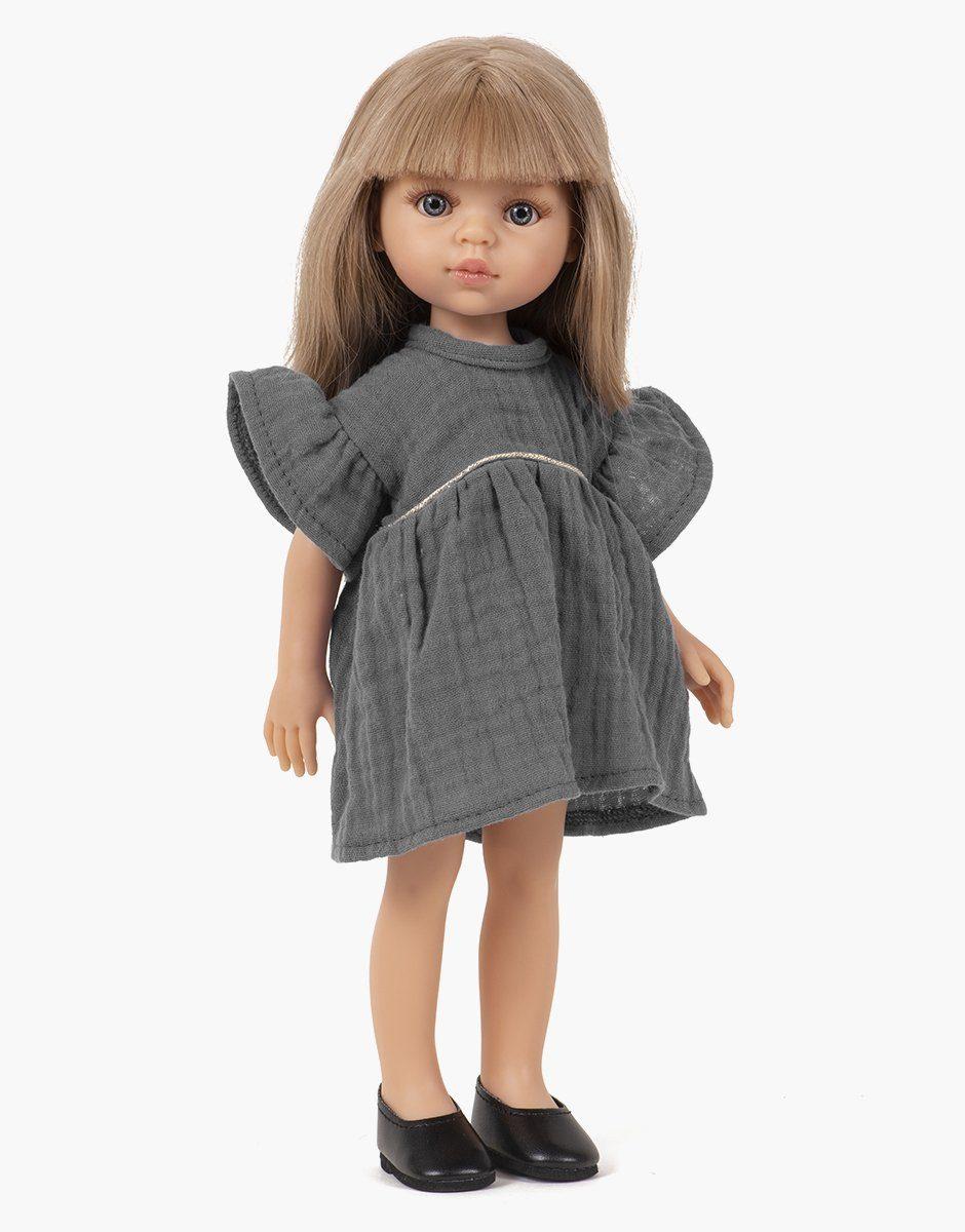Minikane - collection Amigas paola reina, poupée Carla et sa robe daisy anthracite en coton double gaze