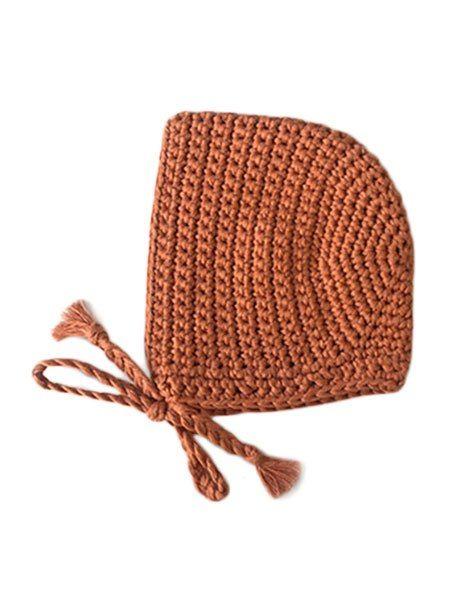 Béguin rond crochet marsala
