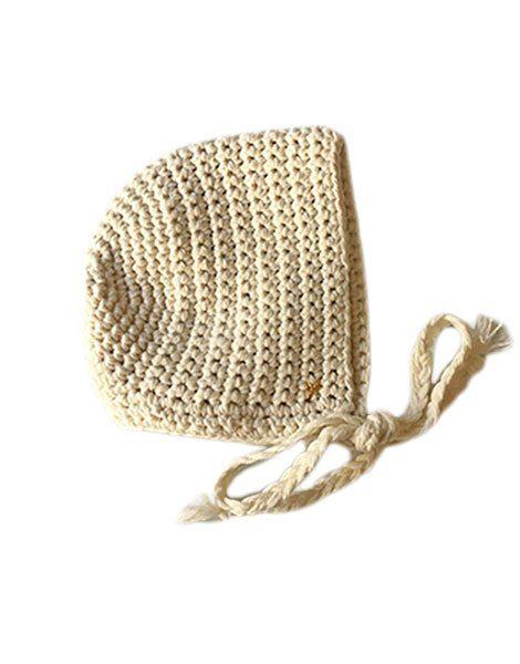 Béguin rond crochet écru