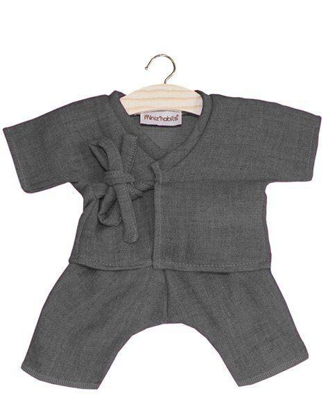 Kimono Niko coton double gaze gris