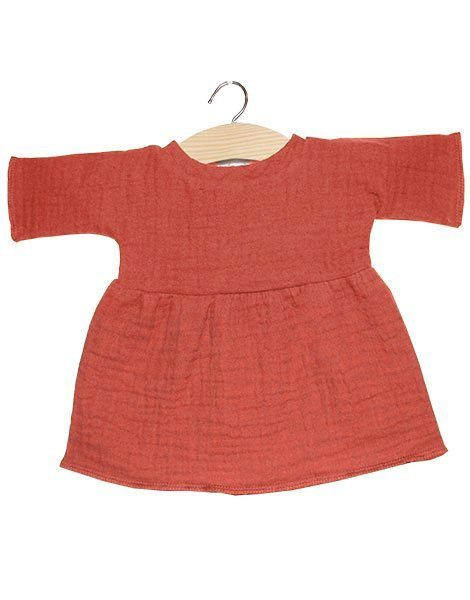 Robe Faustine coton double gaze marsala