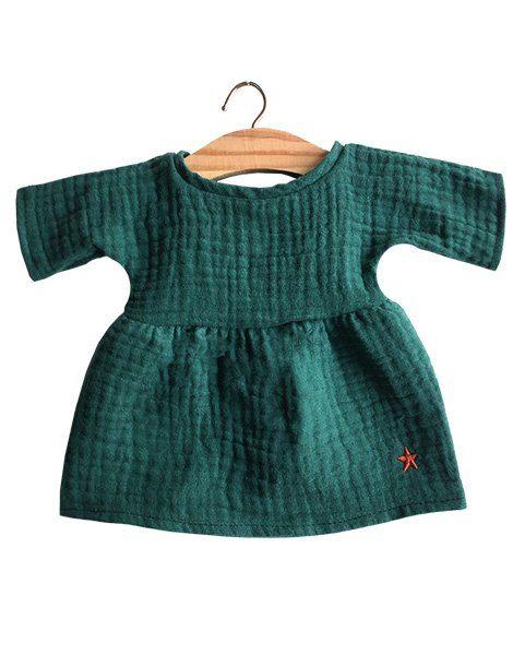 Robe Faustine en coton double gaze vert