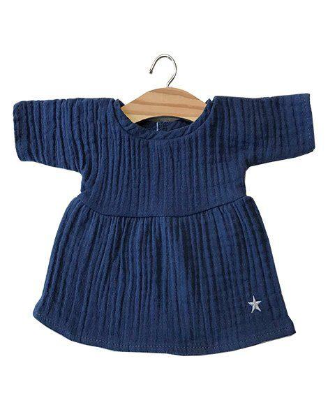 Robe Faustine en coton double gaze bleu