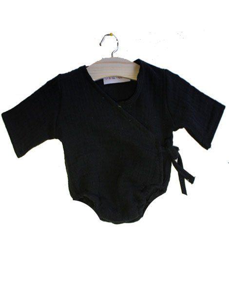 Body croisé coton double gaze noir