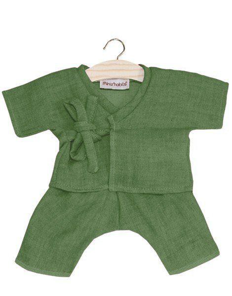 Kimono Niko coton double gaze vert olive
