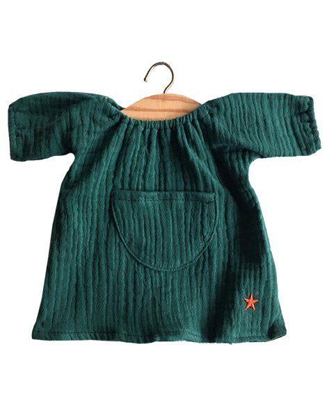 Robe Jeanne en coton double gaze vert