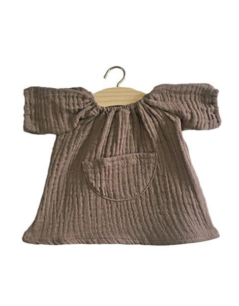 Robe Jeanne en coton double gaze taupe