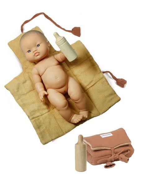 Set matelas Baby Nomade Terre de Sienne & son biberon en bois