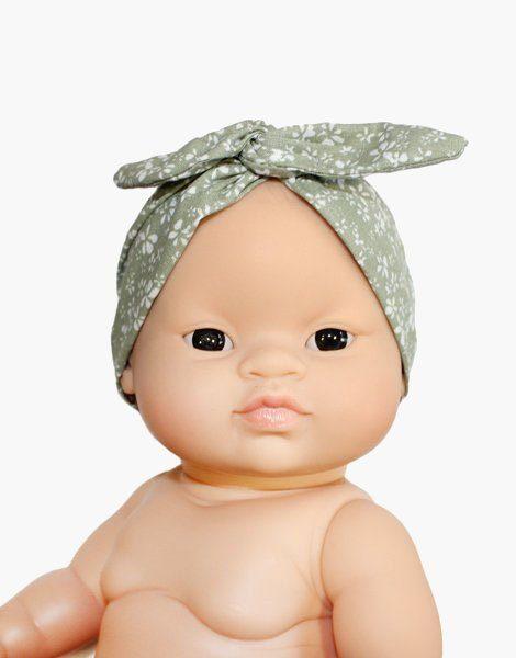 Headband en coton vert tilleul