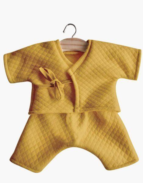 Kimono Niko coton surpiqué moutarde