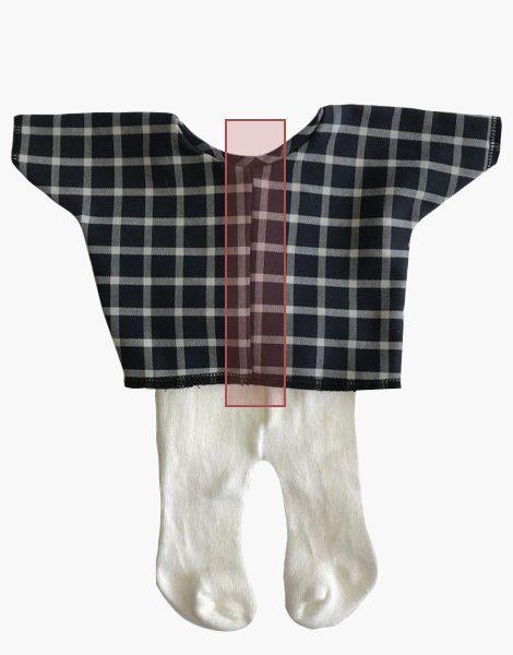 *Top à carreaux + collant écru pour poupée Gordis (34cm)