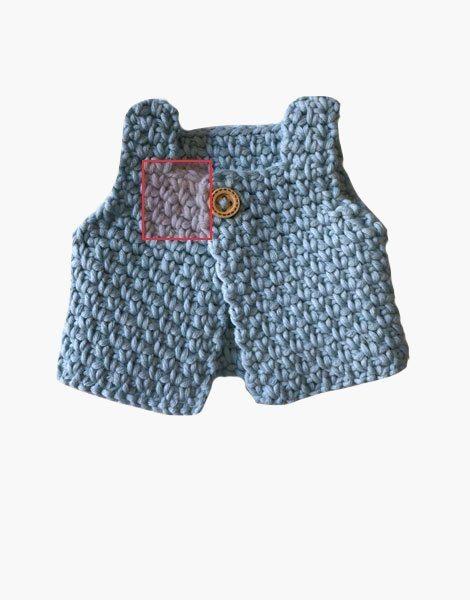 *Gilet sans manche, en crochet fait main, bleu ciel, pour poupée Gordis (34cm)