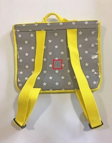*Cartable ZAK (CP) en coton enduit Grey Stars, liseret jaune (garantit sans phtalates)