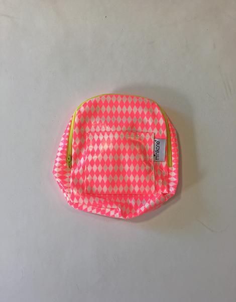 *Sac À dos BabyBag en coton enduit, motifs losanges fluo rose Et zip jaune fluo