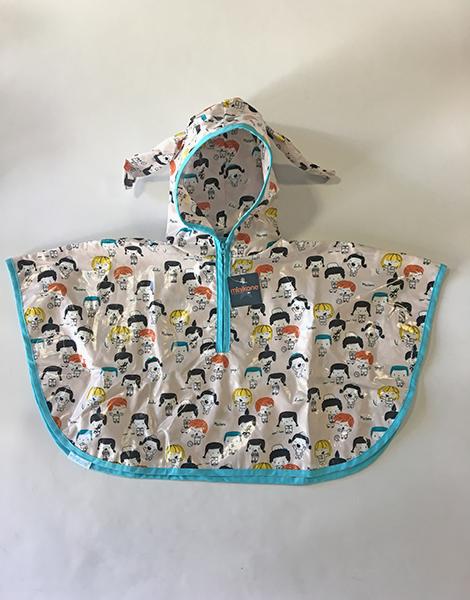 *Cape de pluie enfant 12/36 mois Kids en coton enduit, liseret bleu
