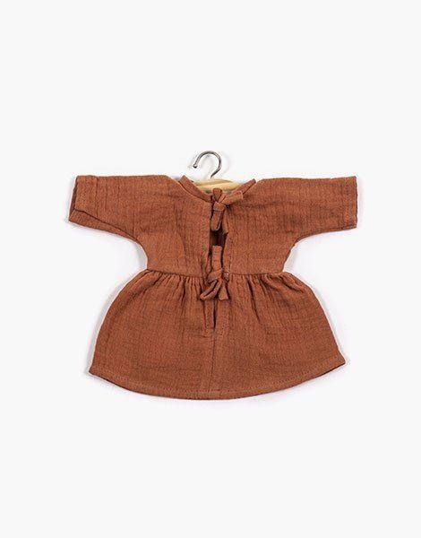 .Robe Faustine coton double gaze Terre de Sienne