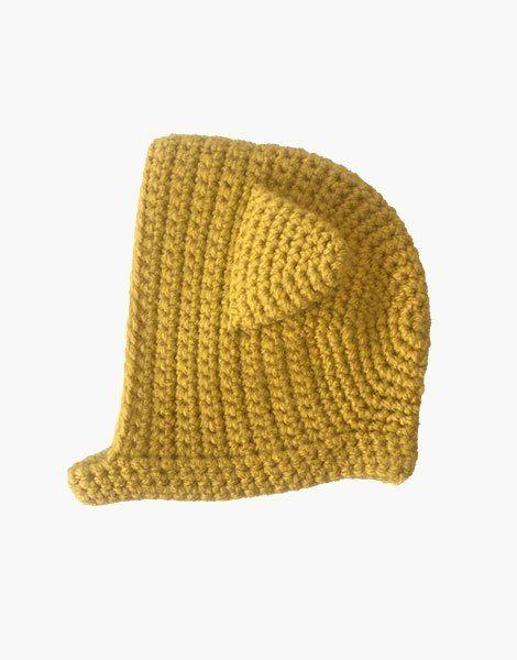 Béguin Chat en crochet Moutarde