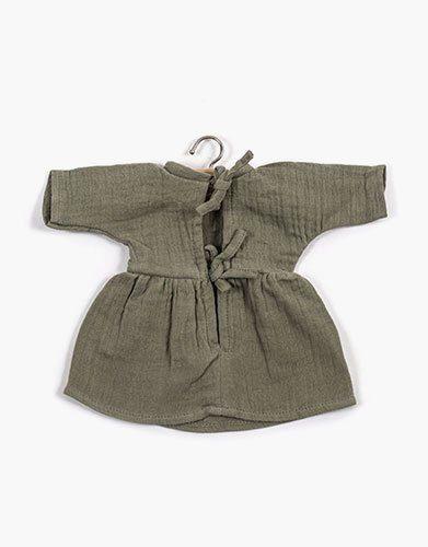 .Robe Faustine coton double gaze Vert Amande
