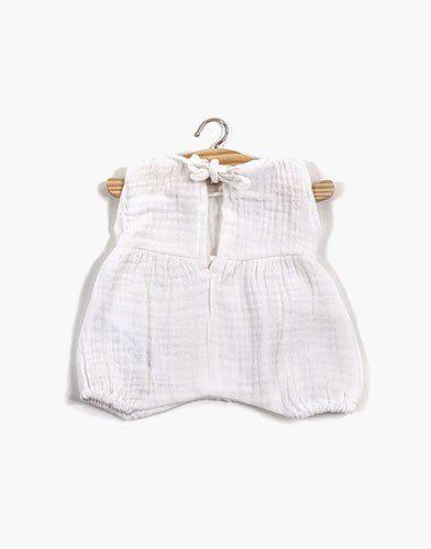 .Barboteuse Noa coton double gaze Blanc