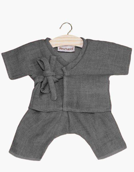 Kimono Niko coton double gaze gris anthracite