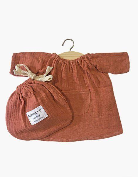 .Robe Jeanne en coton double gaze Terre de Sienne