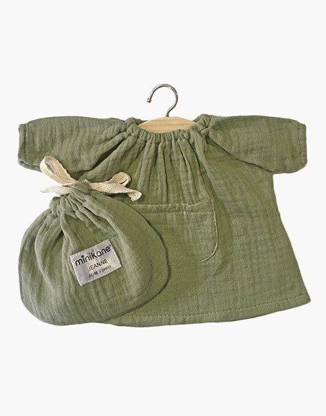 .Robe Jeanne en coton double gaze Vert olive