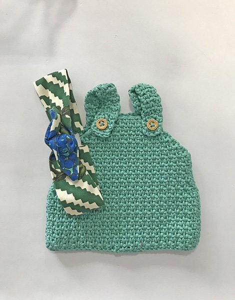 *Bloomer en crochet vert amande avec headband assorti