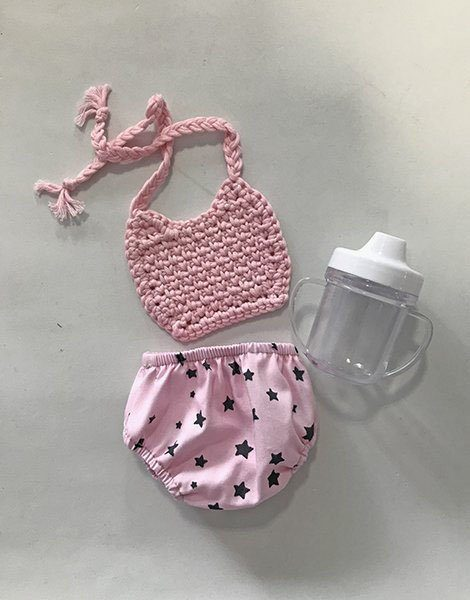 *Ensemble culotte rétro charlotte pink star / bavoir en crochet rose / biberon