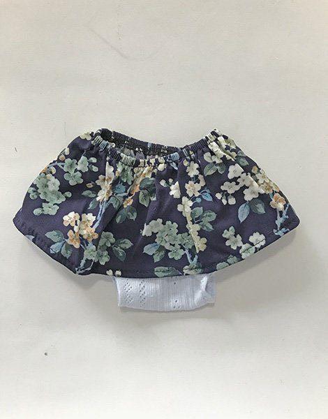 *Jupe en coton Liberty Betsy porcelaine et sa culotte en coton bleu