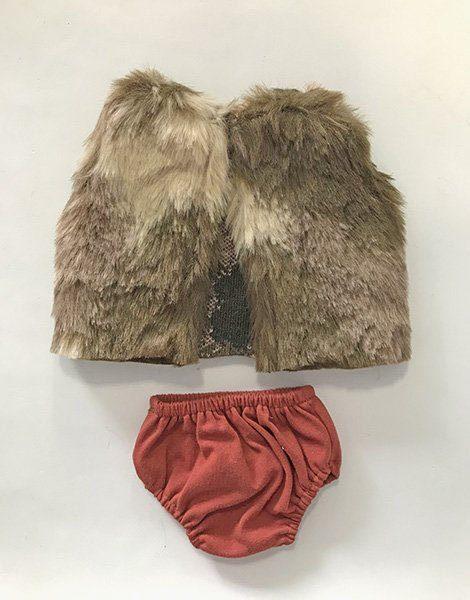 *Gilet en fourrure et culotte en coton brique