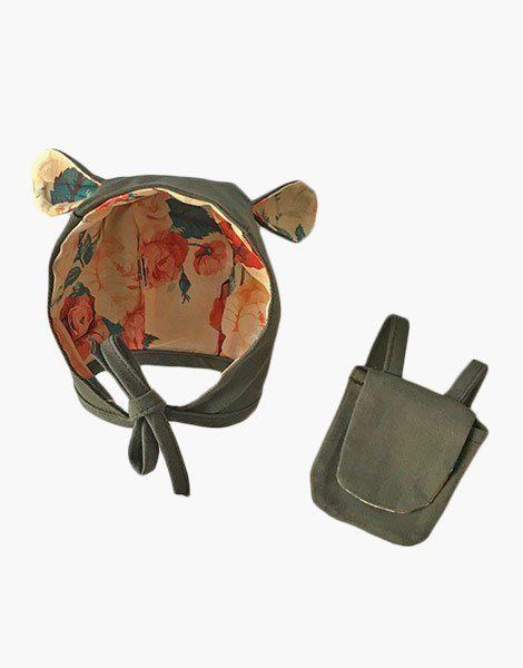 Ensemble Lena avec béguin oreille et petit sac à dos