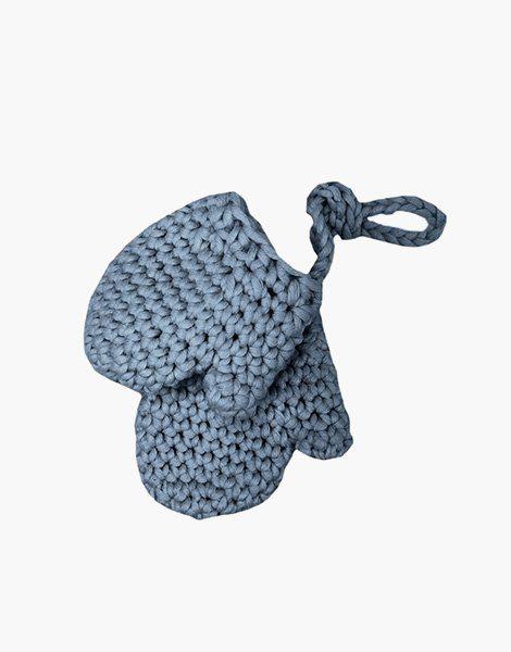 Gants en crochet bleu chiné