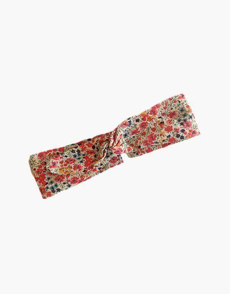 Headband coton Liberty® Tana Lawn rouge orangé