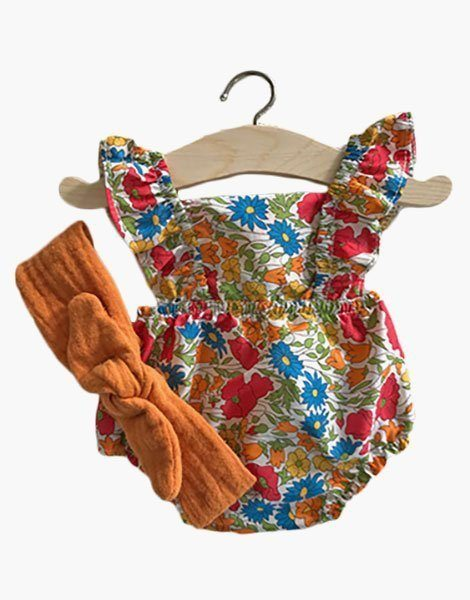 Ensemble Barboteuse Lou en coton Liberty Poppie & Daisy et son headband en double gaze safran