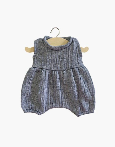 Barboteuse Noa en coton double gaze denim chiné
