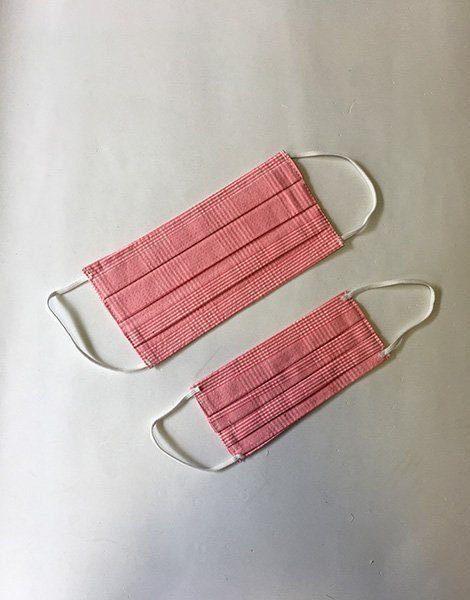 **Masques maman/enfant en 100% coton à carreaux rose