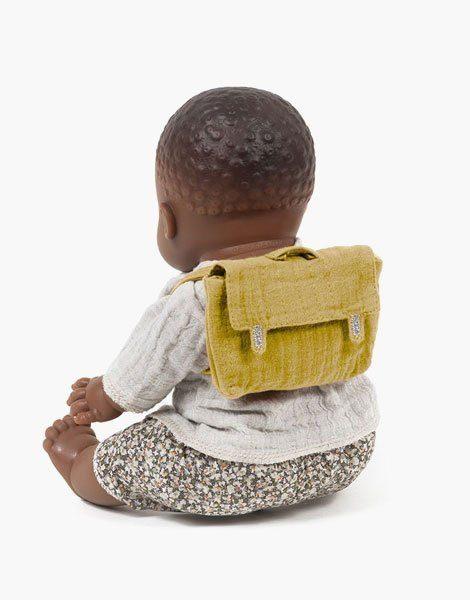 Cartable d'école pour poupées en coton double gaze Moutarde