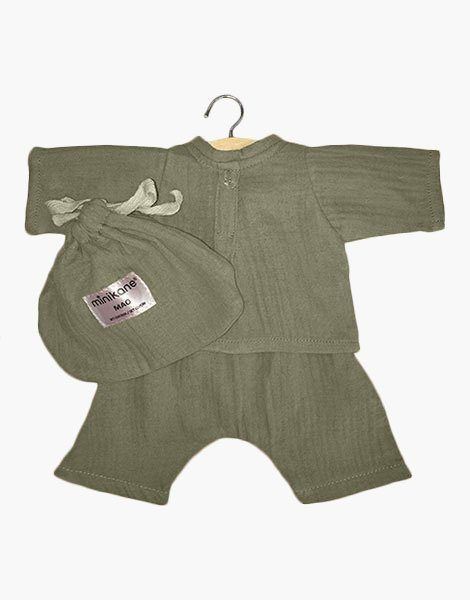 Ensemble Mao en coton double gaze Vert olive