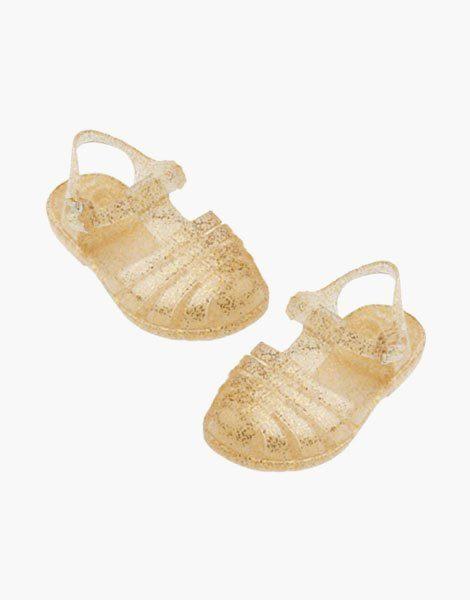 """Sandales de plage """"Sun"""" pour poupée Gordis Doré pailletée"""