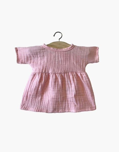 Robe Faustine coton double gaze Rose tendre
