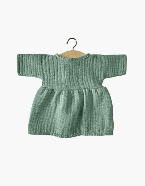 .Robe Faustine en coton triple gaze Vert eucalyptus