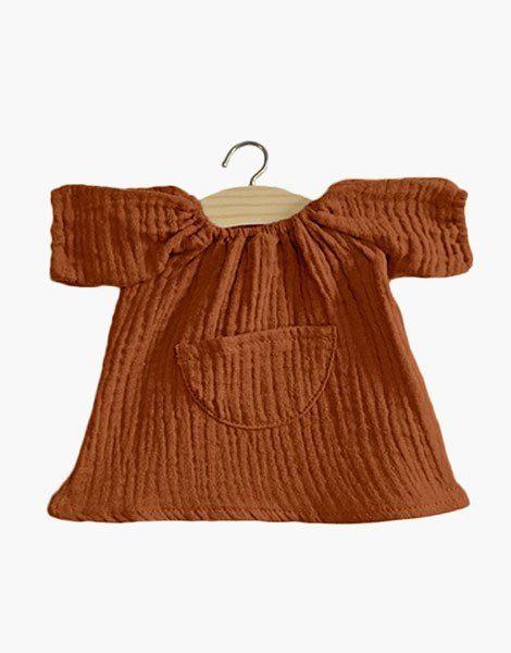 Robe Jeanne en coton double gaze Cognac