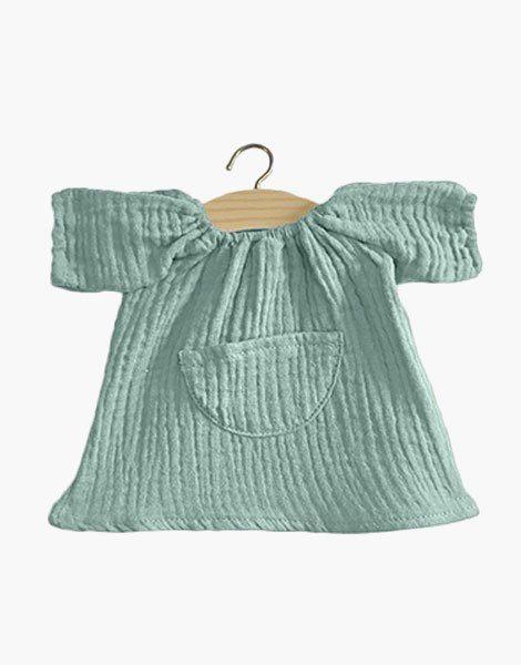 Robe Jeanne en coton triple gaze Vert eucalyptus