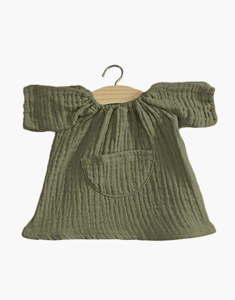 Robe Jeanne en coton double gaze Vert olive