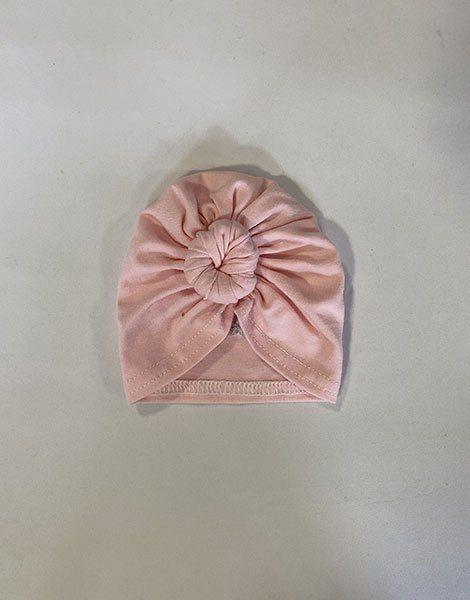 *Turban en coton rose avec étoile brodée argentée