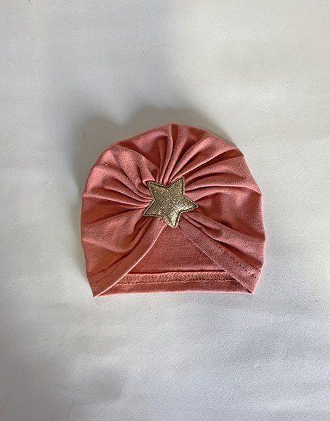 *Turban en coton marsala avec étoile sur le devant