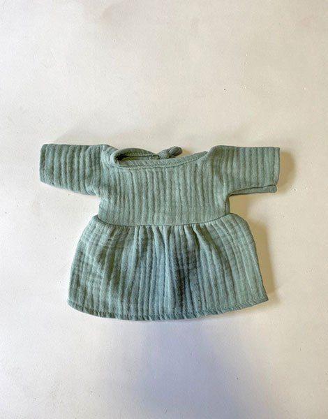 *Robe Faustine en coton triple gaze Vert eucalyptus