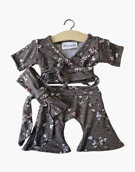 "Ensemble ""AMY"" motifs Flowers brown"