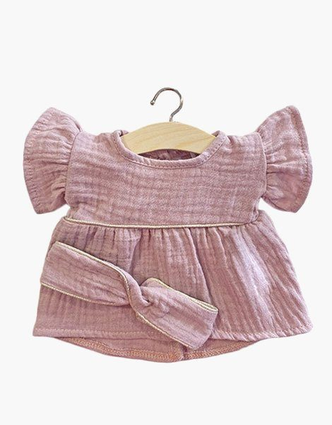 Robe Daisy en coton double gaze Lilas, passe-poil Gold (light) et son headband