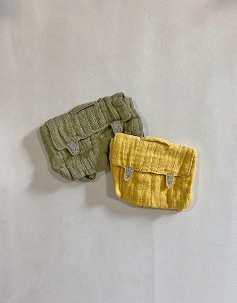 *Lot de 2 cartables d'école pour poupée en coton double gaze vert olive & moutarde
